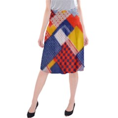Background Fabric Multicolored Patterns Midi Beach Skirt