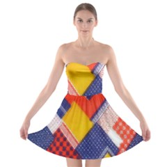 Background Fabric Multicolored Patterns Strapless Bra Top Dress