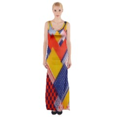 Background Fabric Multicolored Patterns Maxi Thigh Split Dress
