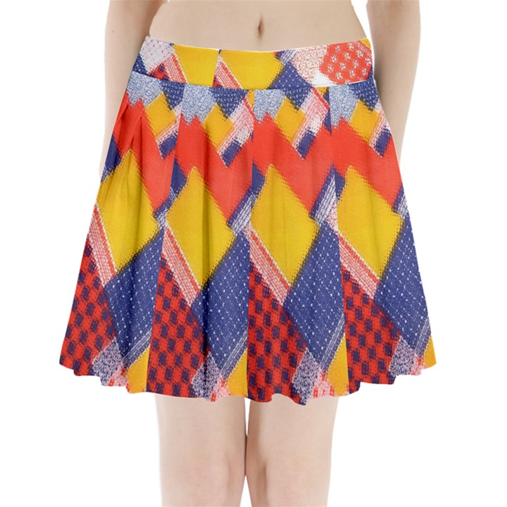Background Fabric Multicolored Patterns Pleated Mini Skirt