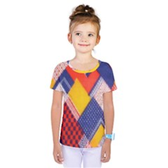 Background Fabric Multicolored Patterns Kids  One Piece Tee