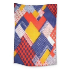 Background Fabric Multicolored Patterns Large Tapestry