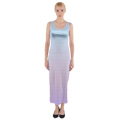 Simple Circle Dot Purple Blue Fitted Maxi Dress