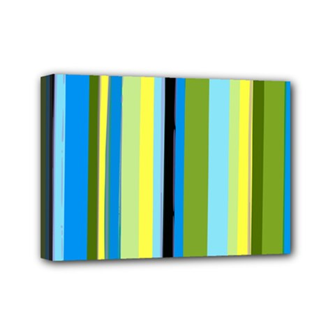 Simple Lines Rainbow Color Blue Green Yellow Black Mini Canvas 7  X 5