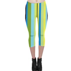 Simple Lines Rainbow Color Blue Green Yellow Black Capri Leggings