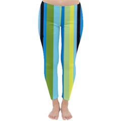 Simple Lines Rainbow Color Blue Green Yellow Black Classic Winter Leggings