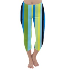 Simple Lines Rainbow Color Blue Green Yellow Black Capri Winter Leggings  by Alisyart