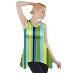 Simple Lines Rainbow Color Blue Green Yellow Black Side Drop Tank Tunic