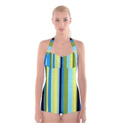 Simple Lines Rainbow Color Blue Green Yellow Black Boyleg Halter Swimsuit