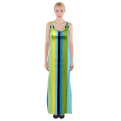 Simple Lines Rainbow Color Blue Green Yellow Black Maxi Thigh Split Dress