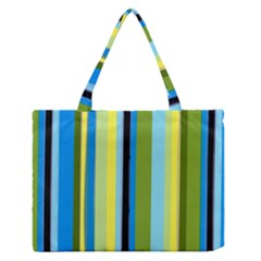 Simple Lines Rainbow Color Blue Green Yellow Black Medium Zipper Tote Bag