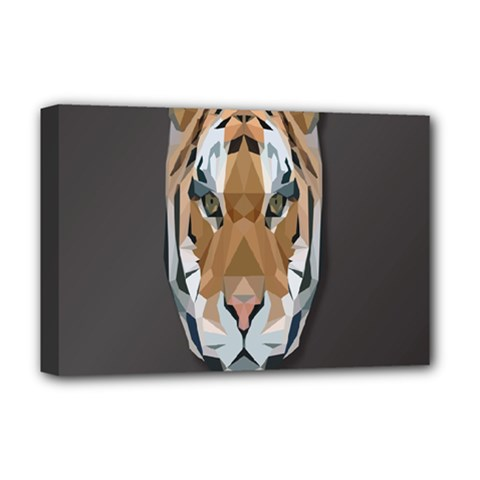 Tiger Face Animals Wild Deluxe Canvas 18  X 12   by Alisyart