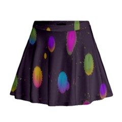 Spots Bright Rainbow Color Mini Flare Skirt by Alisyart