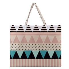 Triangle Wave Chevron Grey Zipper Large Tote Bag