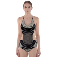 Sunflower Black White Cut Out One Piece Swimsuit