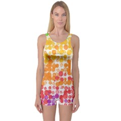 Spots Paint Color Green Yellow Pink Purple One Piece Boyleg Swimsuit