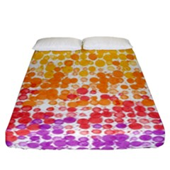 Spots Paint Color Green Yellow Pink Purple Fitted Sheet (california King Size)