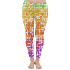 Spots Paint Color Green Yellow Pink Purple Classic Winter Leggings