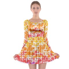 Spots Paint Color Green Yellow Pink Purple Long Sleeve Skater Dress