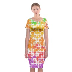 Spots Paint Color Green Yellow Pink Purple Classic Short Sleeve Midi Dress