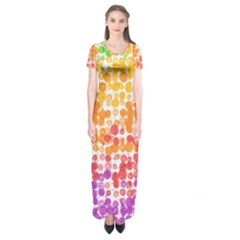 Spots Paint Color Green Yellow Pink Purple Short Sleeve Maxi Dress