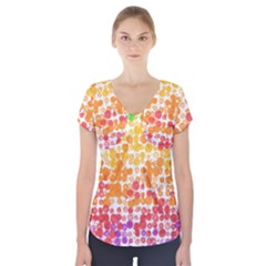 Spots Paint Color Green Yellow Pink Purple Short Sleeve Front Detail Top