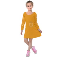 Lime Orange Fruit Fres Kids  Long Sleeve Velvet Dress