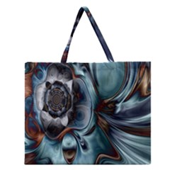 Light Color Floral Grey Zipper Large Tote Bag