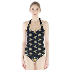 Background For Scrapbooking Or Other With Flower Patterns Halter Swimsuit by Nexatart