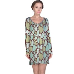 Leaf Camo Color Flower Floral Long Sleeve Nightdress