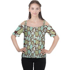 Leaf Camo Color Flower Floral Women s Cutout Shoulder Tee