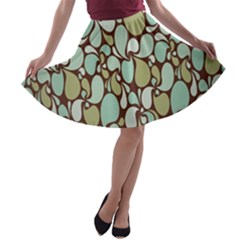Leaf Camo Color Flower Floral A Line Skater Skirt