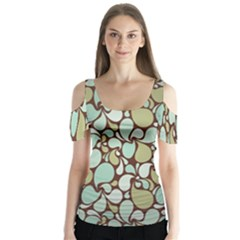 Leaf Camo Color Flower Floral Butterfly Sleeve Cutout Tee  by Alisyart