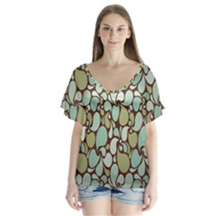 Leaf Camo Color Flower Floral Flutter Sleeve Top