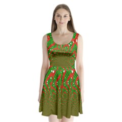 Background Abstract Christmas Pattern Split Back Mini Dress