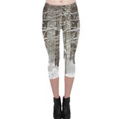 Snow Covered Trees Capri Leggings  by SusanFranzblau