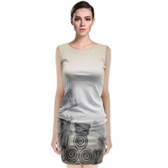 Background Retro Abstract Pattern Classic Sleeveless Midi Dress