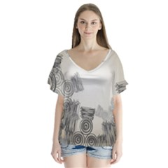 Background Retro Abstract Pattern Flutter Sleeve Top