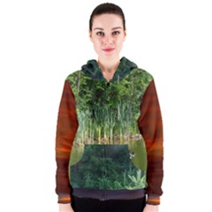 Green Water And Green Trees And Sunset Women s Zipper Hoodie by SusanFranzblau