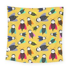 Bees Animal Pattern Square Tapestry (large) by Nexatart