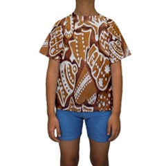 Biscuit Brown Christmas Cookie Kids  Short Sleeve Swimwear
