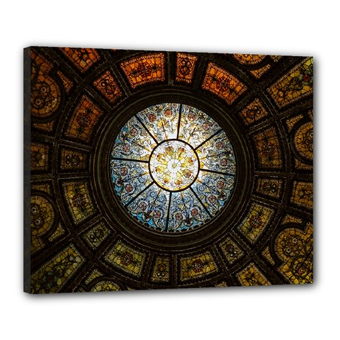 Black And Borwn Stained Glass Dome Roof Canvas 20  X 16  by Nexatart