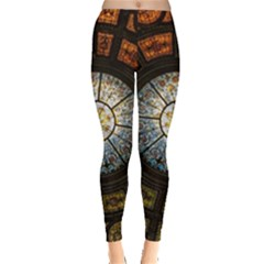 Black And Borwn Stained Glass Dome Roof Leggings  by Nexatart