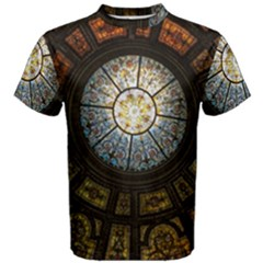 Black And Borwn Stained Glass Dome Roof Men s Cotton Tee by Nexatart