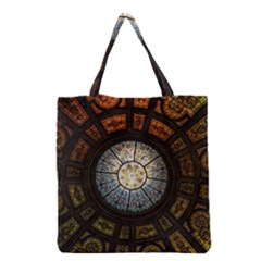 Black And Borwn Stained Glass Dome Roof Grocery Tote Bag by Nexatart