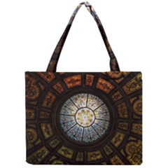 Black And Borwn Stained Glass Dome Roof Mini Tote Bag by Nexatart