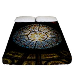 Black And Borwn Stained Glass Dome Roof Fitted Sheet (king Size) by Nexatart