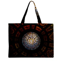 Black And Borwn Stained Glass Dome Roof Zipper Mini Tote Bag by Nexatart