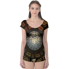 Black And Borwn Stained Glass Dome Roof Boyleg Leotard  by Nexatart