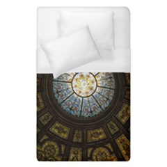 Black And Borwn Stained Glass Dome Roof Duvet Cover (single Size) by Nexatart